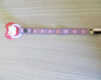Pink Purple Star fabric pacifier clip