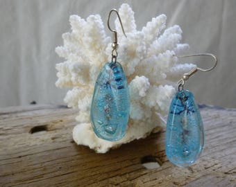 Blue earrings glass fusing original creation with mineral inclusions