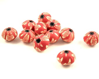 X 10perles fimo red 13mm abacus