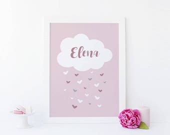 Scandinavian poster - Cloud and rain of hearts (girls)