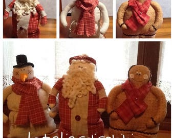 Snowman, ginger bread and Santa Claus