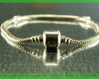 silver bracelet clasp 19cm for European charms Pearl N51