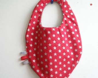 """Christmas with silver stars chic"" bandana bib and Terry back"