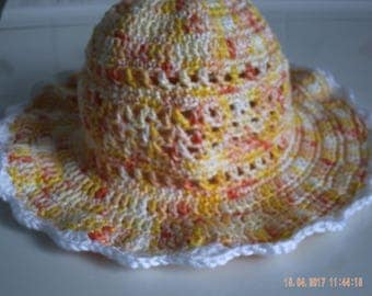 Crocheted multicolor yellow cotton baby Hat