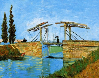 ORIGINAL AESTHETIC WASHABLE and tough semi-rigid PLACEMAT / Van gogh / Arles with Lady Langlois bridge