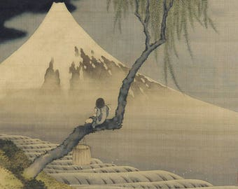 SEMI-rigid PLACEMAT, ORIGINAL design, WASHABLE and durable - flute player at the foot of Mount Fuji.