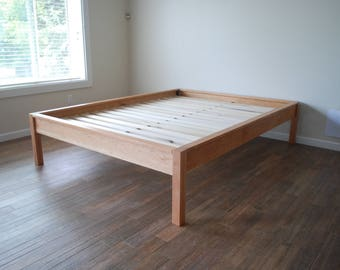 Platform Bed in Solid Cherry, Twin, Full, Queen, King, Cal King