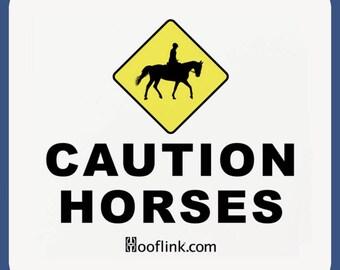 Caution Horses Float Magnet