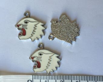 Set of 3 silver tone and white tiger charms