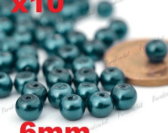 10 green duck colors 6mm ref5 Pearly glass beads