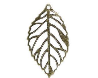 10 charm leaf bronze 13 x 25mm