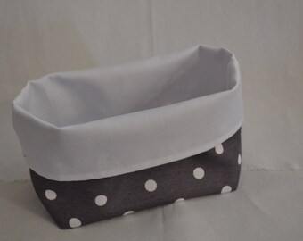 Charcoal with white dots reversible pouch