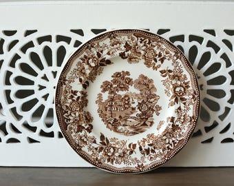 Vintage Tonquin Royal Staffordshire Dinnerware small plate Brown Transferware