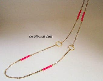 Neon Crystal beads and gold plated necklace with Swarovski