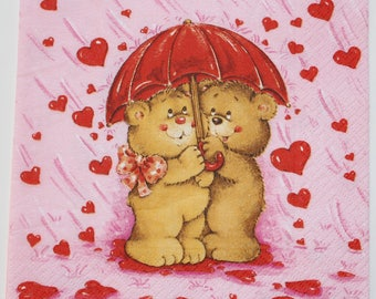 napkin bears in love under the umbrella 4 identical patterns