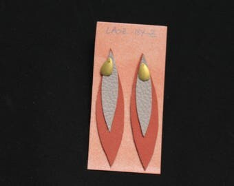 Laoz orange and gray leather earrings