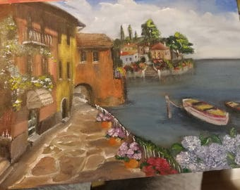 oil painting, vacation, street, sea, flowers, boats