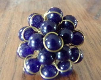 Ring made of purple beads