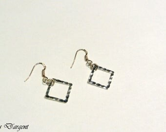 hammered 925 sterling silver diamond earrings