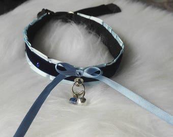 Blue Velvet Gem Kitten Play Collar Choker