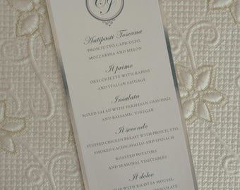 Elegant Wedding Menu, Elegant Menu, Silver Foil Wedding Menu, Silver Foil Menu, Elegant Wedding Menus, Silver Foil Wedding Menus, Foil Menu