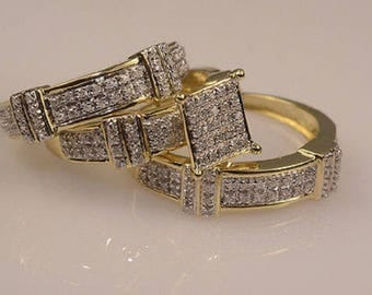 Regaalia Jewels Diamond Wedding 14K Yellow Gold Over Trio His & Her Bridal Band Engagement Set All Size Available FREE SHIPPING