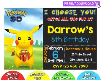 SALE 80% OFF: Pokemon Invitation, Pokemon Instant Download Invitation, Pikachu Invitations, Pokemon Birthday Invitation, Pokemon Editable