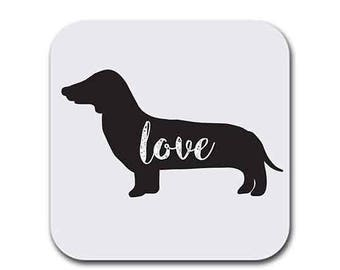 Dachshund Weiner Dog Love My Dog  - Coaster (6) - Dog Gift Coasters for Drinks - Absorbent | Furniture Safe - Gifts Home - Quality Neoprene