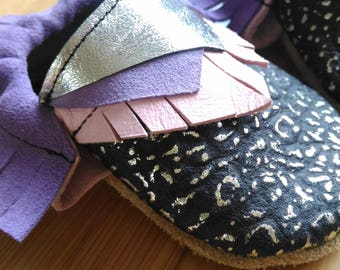 Pink black and lavender baby shoes