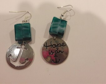 Hope is an anchor charms with turqoise beaded earrings