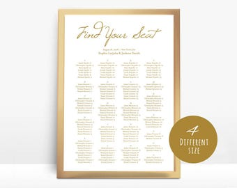 Gold, Wedding seating chart, printable seating chart, Seating Chart Template, seating chart, Seating Board, Find your seat sign,LDS_27