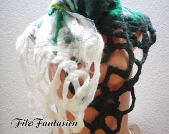 Nuno felted scarf, silk scarf, shawl, scarf with lace pattern, scarf in green and white, Hårruller