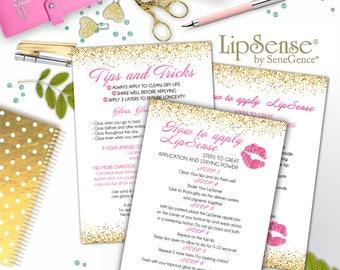 LipSense Tips & Tricks Card; Application Thank You card; Sene Gence International; LipSense; Distributor; LipSense Application Card
