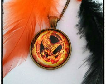 Hunger game in orange and black feather necklace