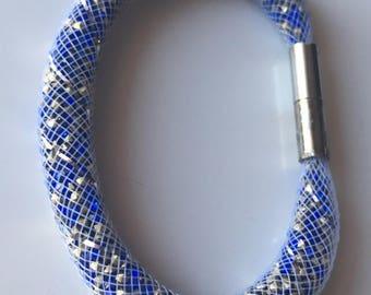 Blue and white tubular Mesh Bracelet