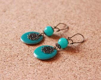 Earrings • ANTENA • turquoise / bronze
