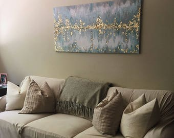 Gold Leaf Acrylic Light Blue Large Abstract Painting with Texture