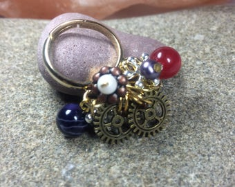 Steampunk gem stone ring, gold plated multisize ring base