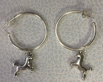 Sterling silver hoop earrings with unicorn charm