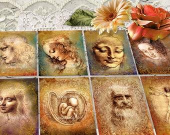 8 images digitales - Images pour cadres - Images à imprimer - Scrapbooking, Serviettage , Cartes - Images Numeriques - Leonardo da Vinci