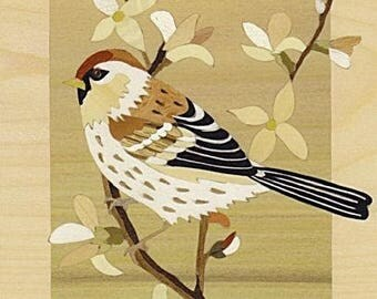 """""""redpoll"""" inlaid, marquetry art, made in France"""
