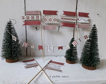 Mini mini Garland flags for table decoration, cake top picks and paper. Nordic vibe