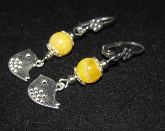 Bird and crackled agate earrings