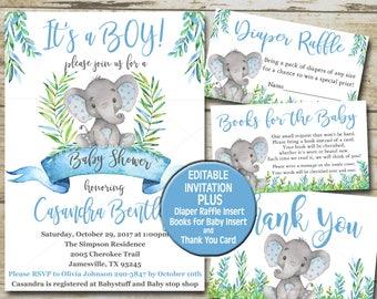 Boy Elephant Baby Shower Invitation Editable Set, Safari Blue, Books For  Baby, Diaper