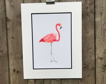Original Pink Standing Flamingo Acrylic Painting. Wildlife art, home decor, wading birds