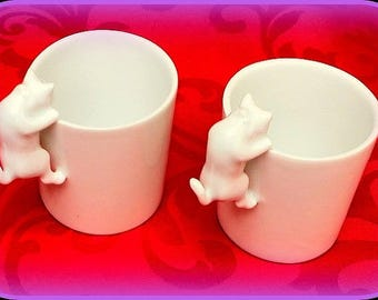 These 2 coffee cups right handle cat white Limoges porcelain