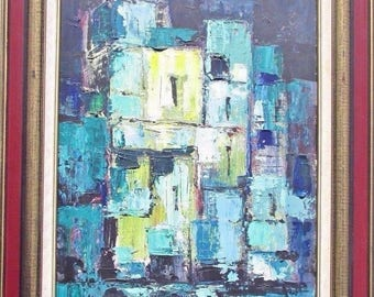 vintage 1970s abstract oil painting by well listed Helen de Silaghi Sirag(1920-2008)canadian romanian artist borduas riopelle style