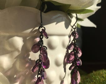 Purple Chandelier Drop Earrings
