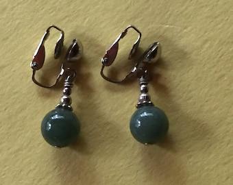 Jewelry, Earrings, Vintage, Green Lapis, Drop