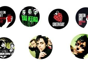 7 PINS pins 25 mm GREEN DAY punk rock goth dark metal